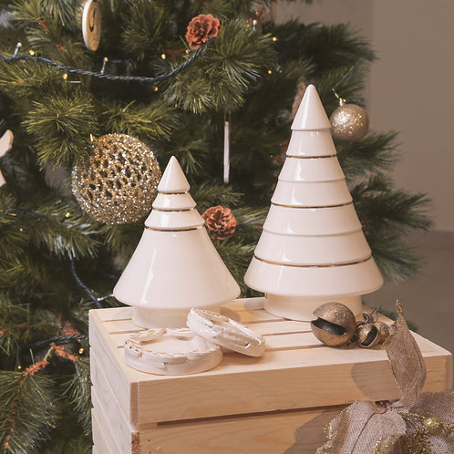 White and Gold Striped Christmas Tree