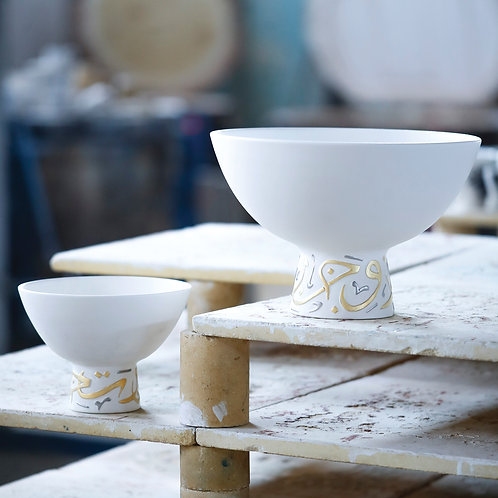 Large elevated calligraphy bowl