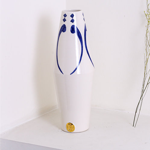 Gold and navy elharf vase
