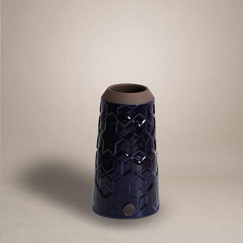 Black Clay Column Vase with Geometric Patterns