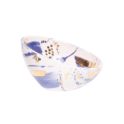 Abstract Blue and Gold Bowl