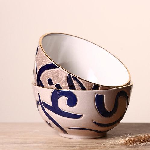 Mixed clay calligraphy bowl