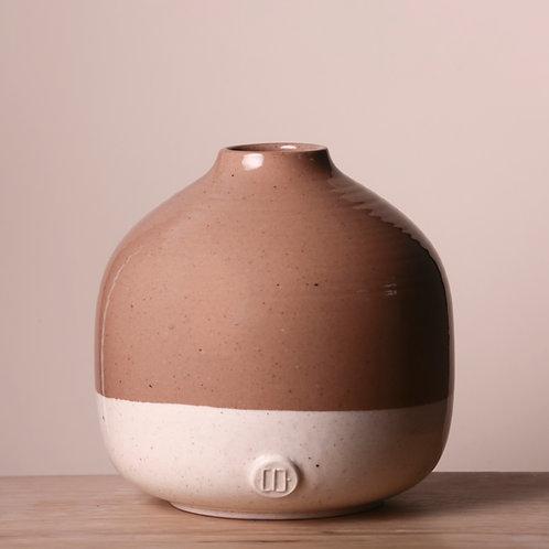 Round glazed two tone vase