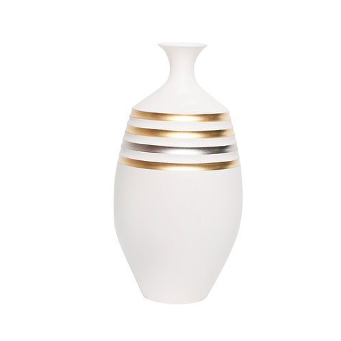 Gold and platinum striped long vase