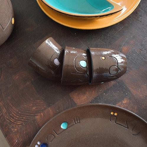 Black clay Arabic coffee cups