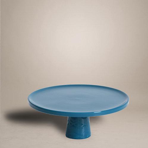Petrol blue Cake Stand with Geometrical Pattern Base