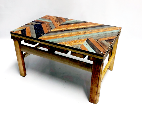 Geometric Lathe Wood Coffee Table