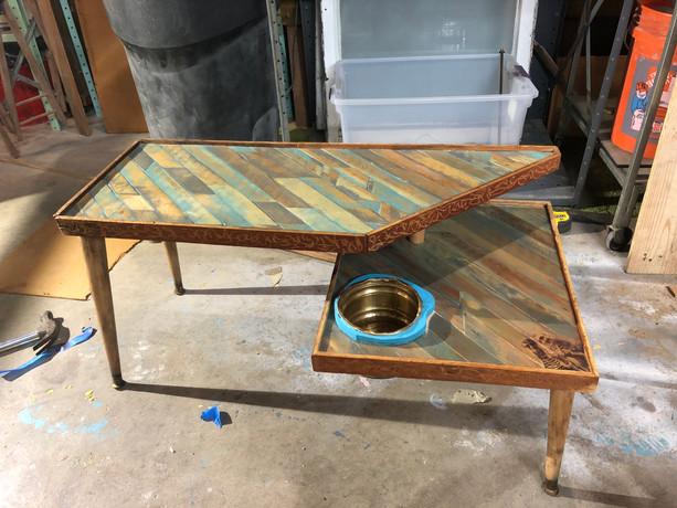 2 Tier Mid-Century Rustic Coffee Table