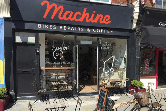 Street view of Machine cycle café in Bermondsey, one of the fun London cycling cafés.