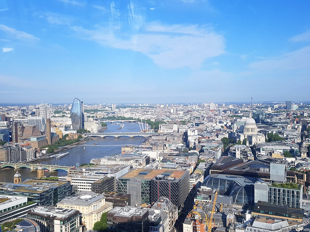 A beautiful view of the London skyline from the Sky Garden