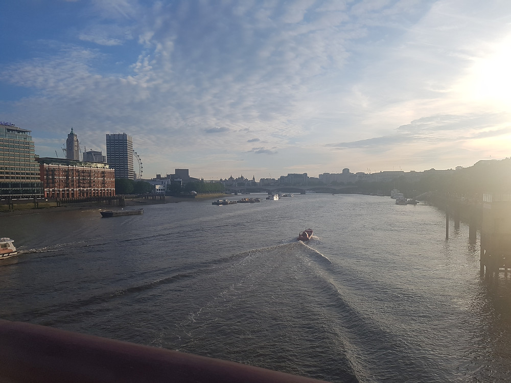 View of the River Thames from Blackfriars Bridge near Southbank. On one of my London walking routes.