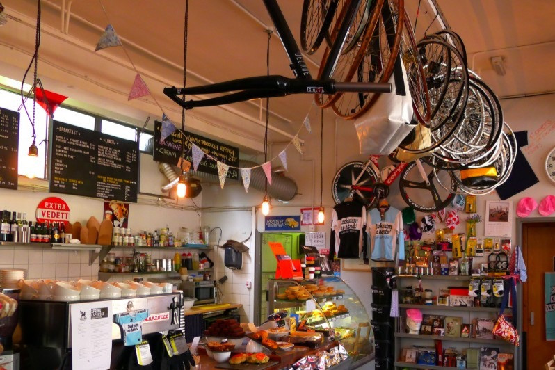 Photo of the cycling café counter in Look Mum No Hands!