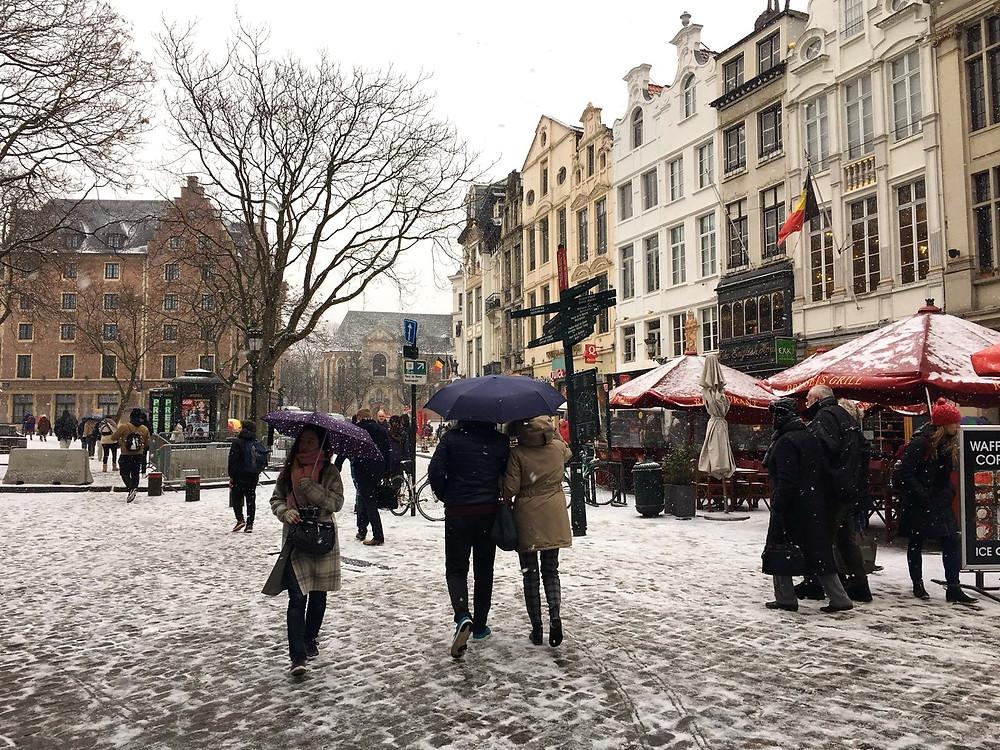 Snowy Brussels street