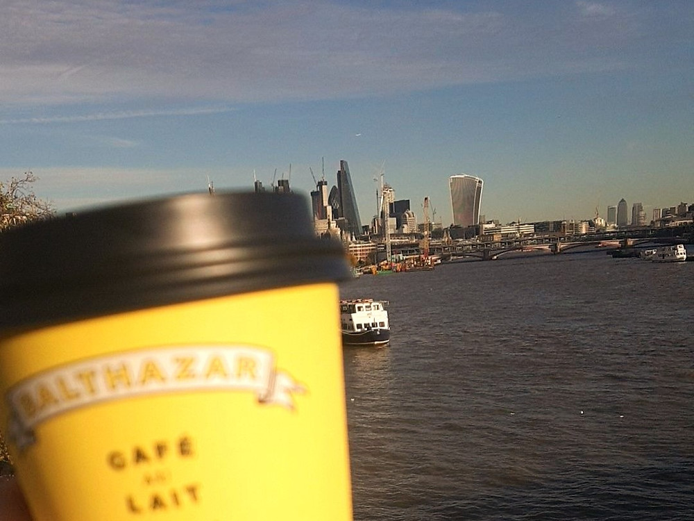 My latte and I on Waterloo Bridge