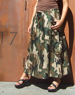 Long Camouflage Skirt with Pockets