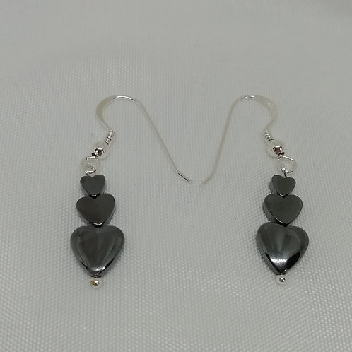 Hematite Puffy Hearts Earrings
