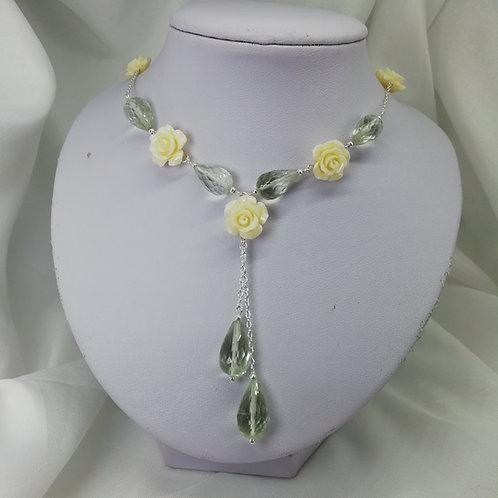 Faceted Prasiolite Teardrop Necklace