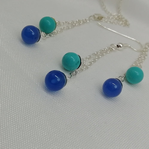 Turquoise and Blue Onyx Earrings