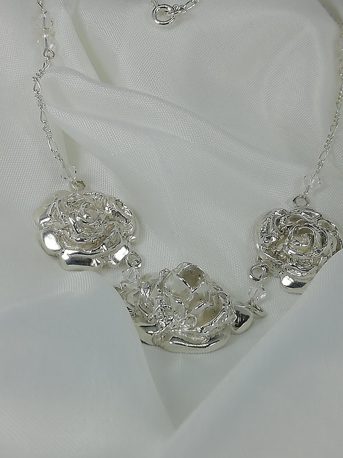 Handmade Stunning solid sterling silver roses with swarovski crystals and silver necklace