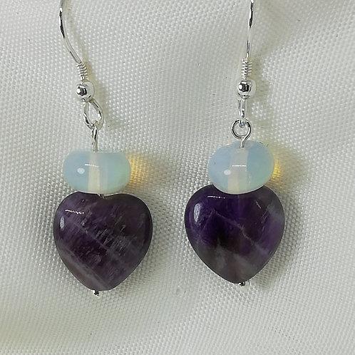 Amethyst  and Opaline Earrings