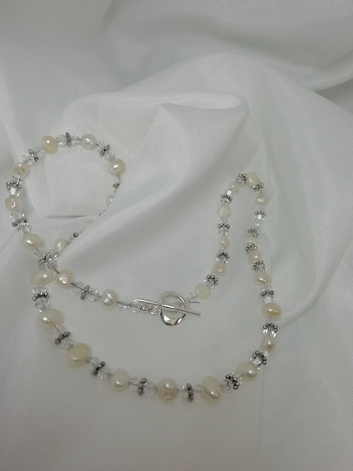 handmade natural Small freshwater pearls, crystals and silver necklace