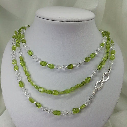 Peridot  and Crystal Necklace
