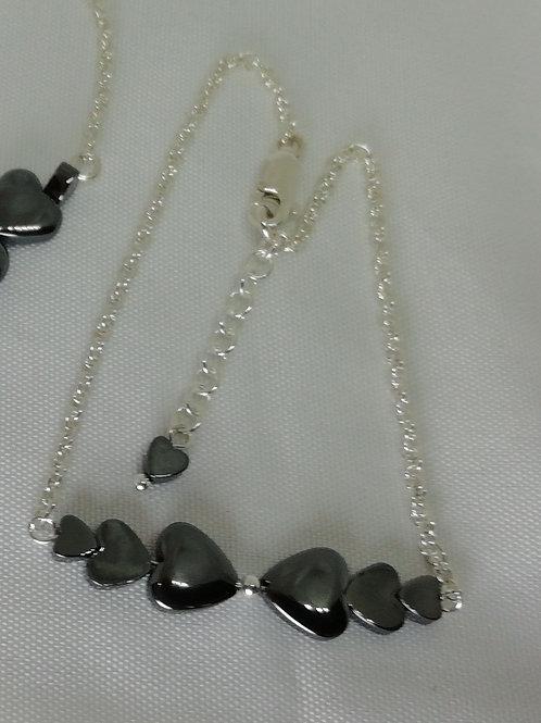 Hematite Puffy Hearts  Bracelet