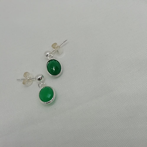 Faceted Green Onyx Earrings