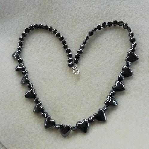 Hematite Hearts Necklace