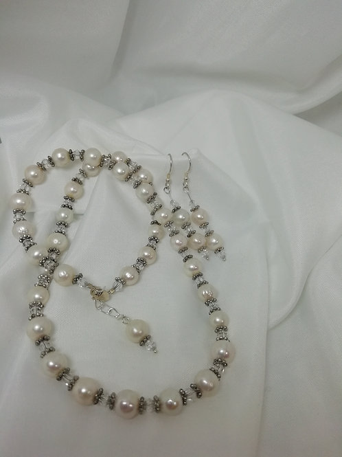 Handmade Freshwater pearls with crystals and silver necklace