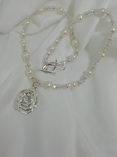 Handmade Freshwater pearls and crystals with sterling silver necklace