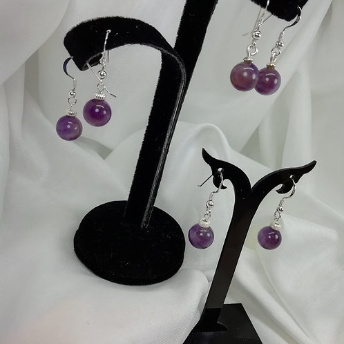 Beautiful 10mm amethyst beads setr with silver Earrings
