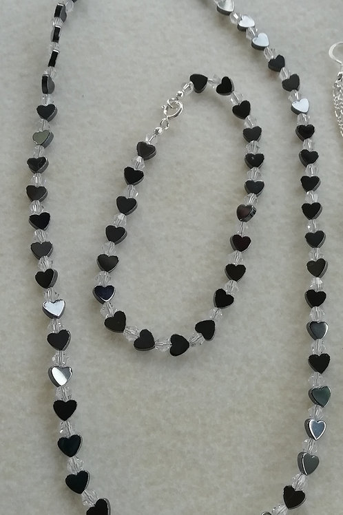 Hematite and Crystal Necklace