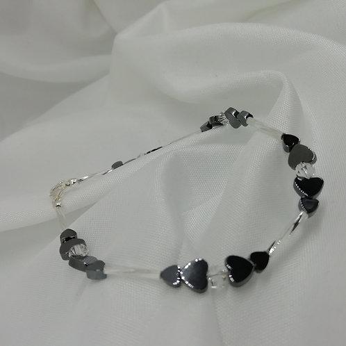 Hematite Hearts Bracelet