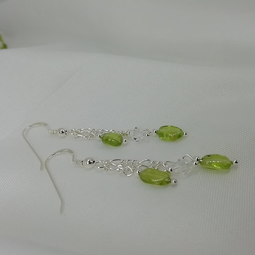 Peridot and Crystal Earrings