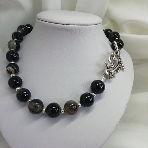 Handmade Round banded black agate beads with a silver necklace