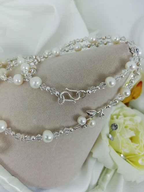 Handmade Freshwater pearls with swarovski crystals and sterling silver necklace