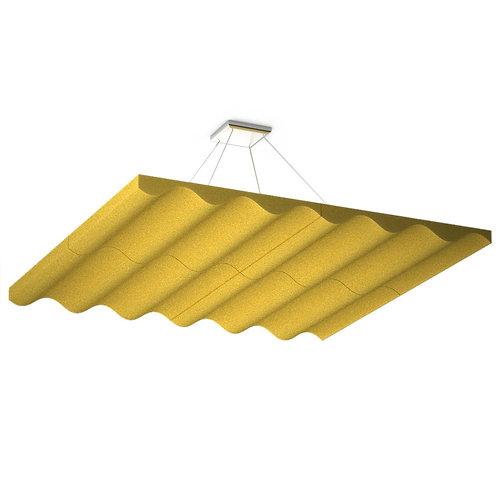 Акустическая подвесная звукопоглощающая панель Quadro Wave Yellow