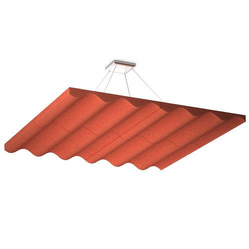 Акустическая подвесная звукопоглощающая панель Quadro Wave Red.