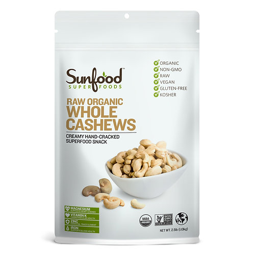 Cashews, Whole, 2.5lb, Organic, Raw