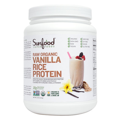 Rice Protein, Vanilla, 2.5lb Tub, Organic, Raw