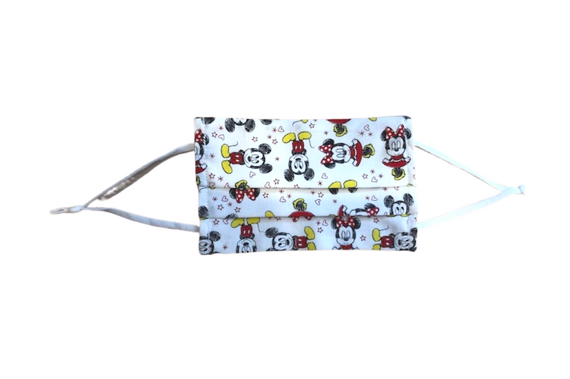 Pleated Face Mask - Mickey & Minnie Mouse white
