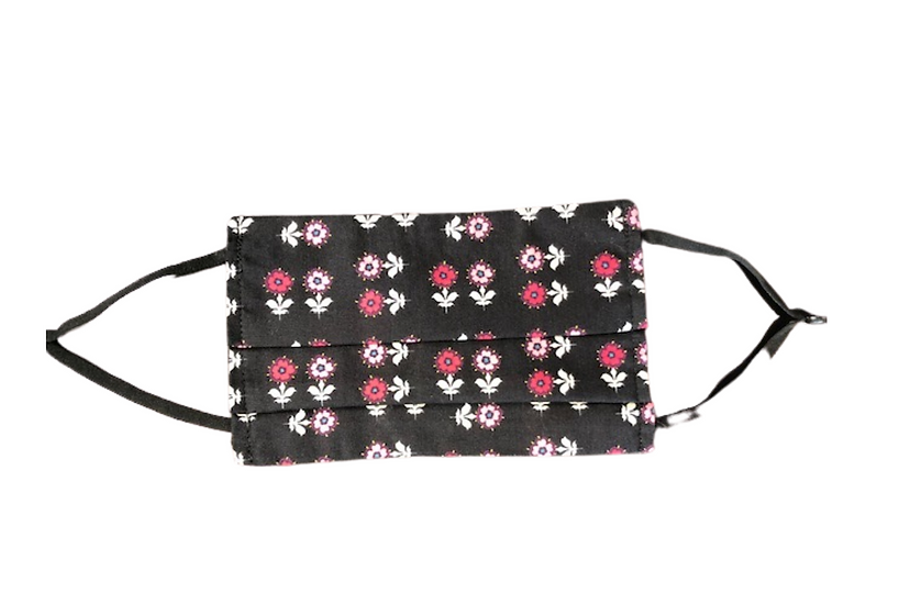 Pleated Face Mask - Black with Pink Flowers