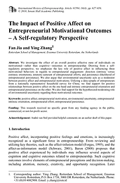 The Impact of Positive Affect on Entrepreneurial Motivational Outcomes – A Self-regulatory Perspective