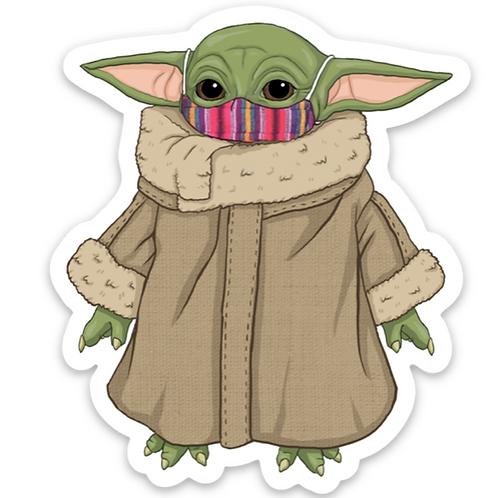 Baby Yoda Mask - Premium Vinyl Stickers