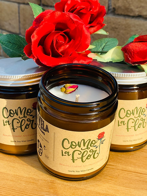 Como La Flor ~ Ocean Rose Jam Infusion ~ Topped with Rose Bud ~ 8 oz Soy Candle