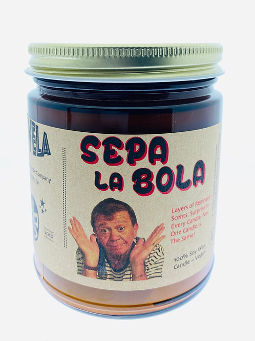 Sepa La Bola ~ One of a Kind Candle. This is layers of remnant wax ~ 100% Soy Ca