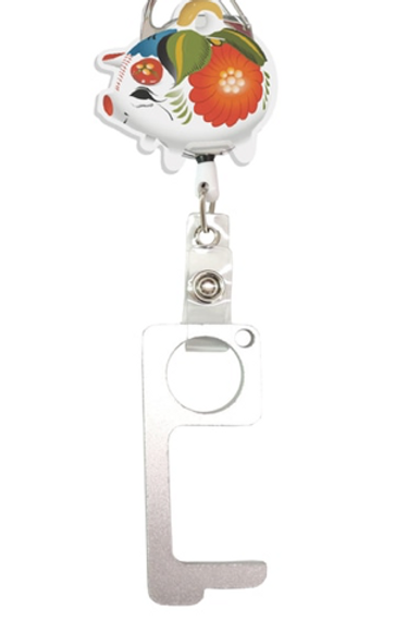 Puerquito  No TouchKey Ring with  Retractable Reel