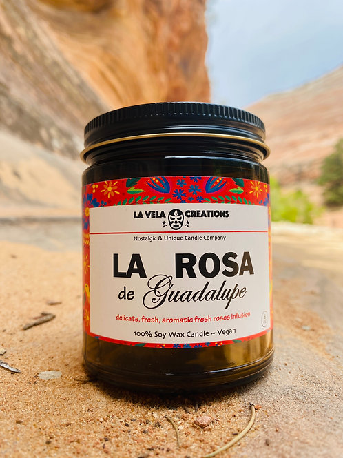 Rosa de Guadalupe (Red Rose) Scented 100% Soy Candle ~ 8oz