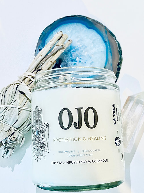 Ojo ~ Protection & Healing Crystal Candle ~ Grapefruit Mint Infusion ~ 8 oz